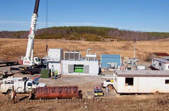 Equipment is being installed for landfill methane project