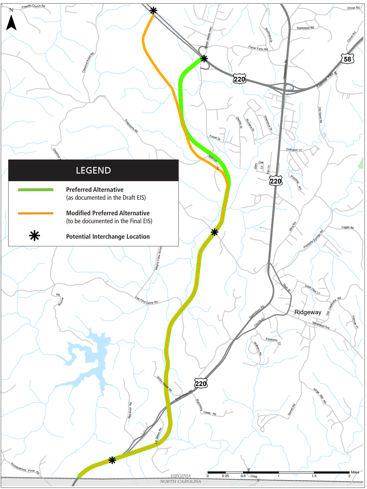 Martinsville Southern Connector map