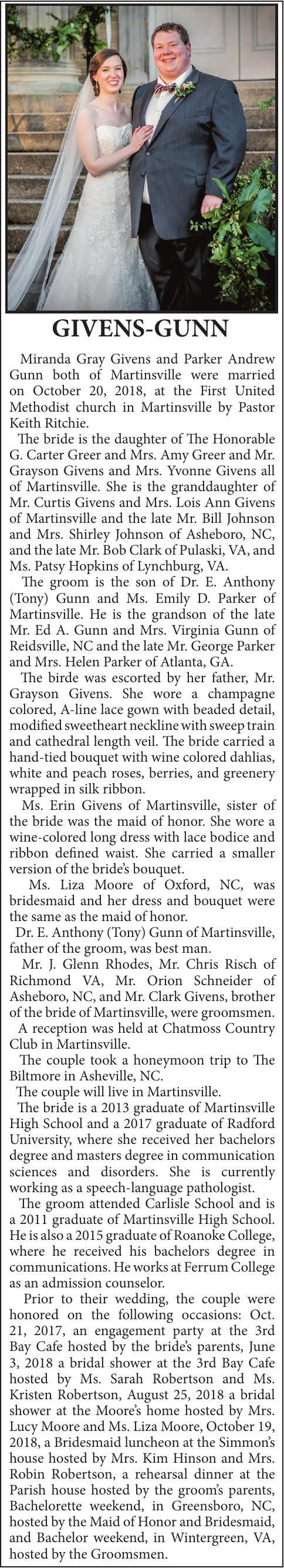 WEDDING -  GIVENS-GUNN  MARCH 31, 2019