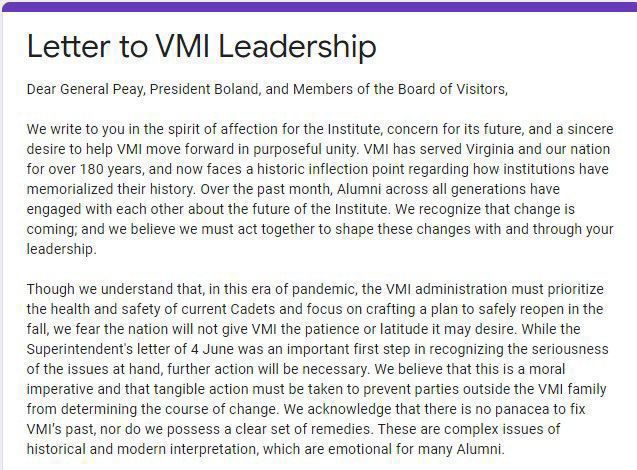 Screen grab of letter to VMI leadership 070920