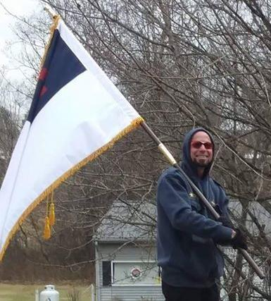 James Clifton with flag