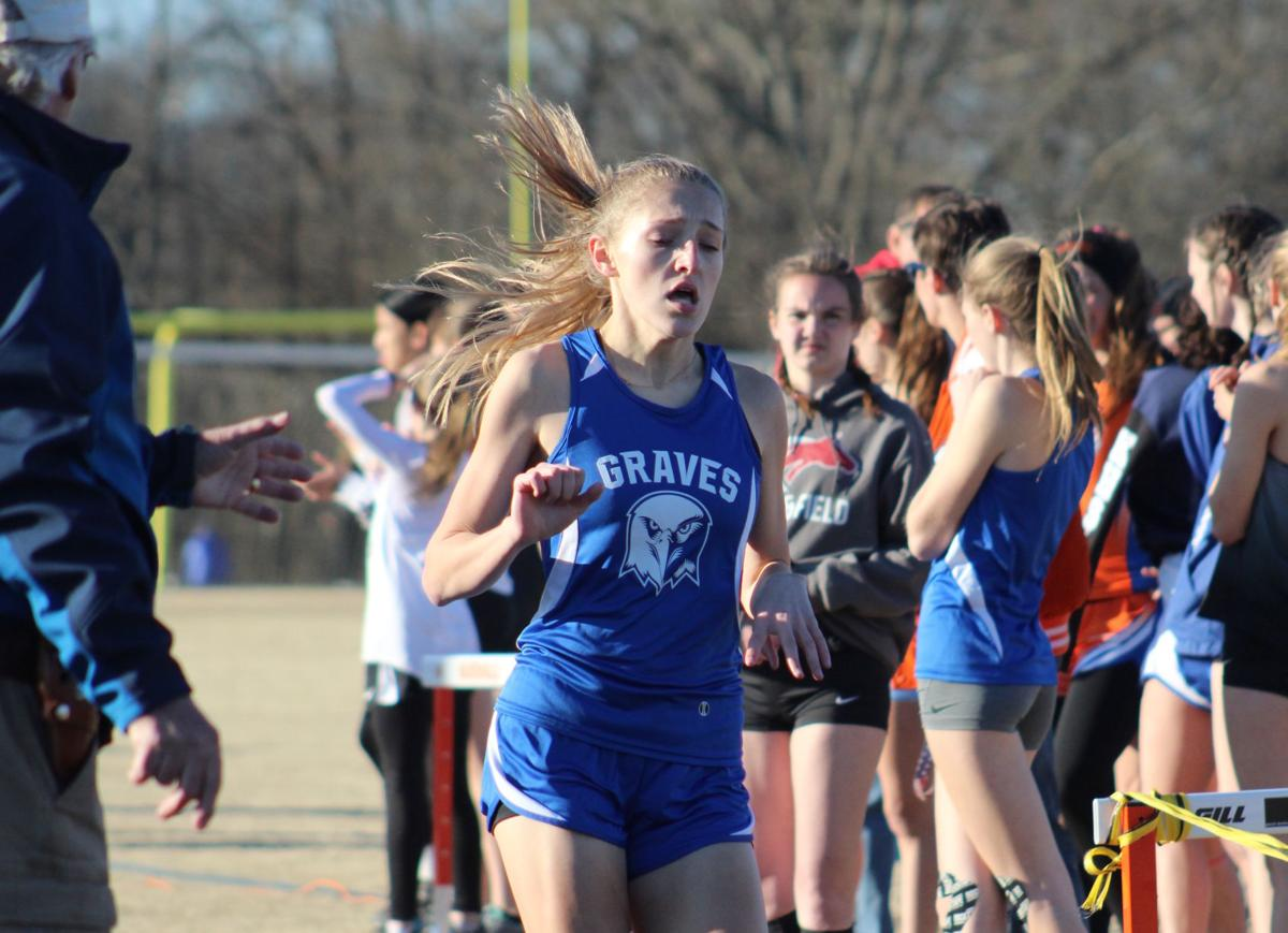 TRACK: Stella Mapes crosses the finish line in the 800 meter run.