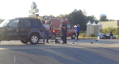 Motorcyclist injured in wreck