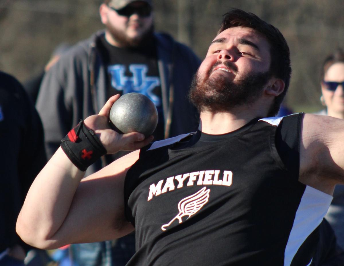 TRACK: Barrett Henley heaves to a first place finish in the shot put