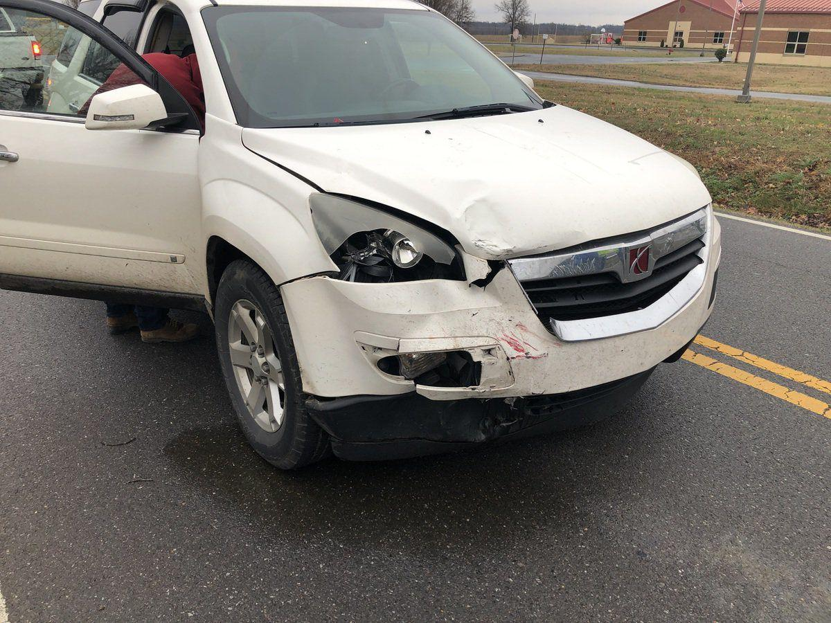 Cars collide in front of Sedalia Elementary