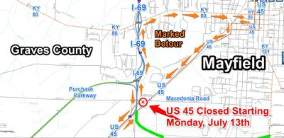 U.S. 45-Business to Close at U.S. 45-Bypass/KY 80-Bypass Work Zone in Mayfield starting Monday