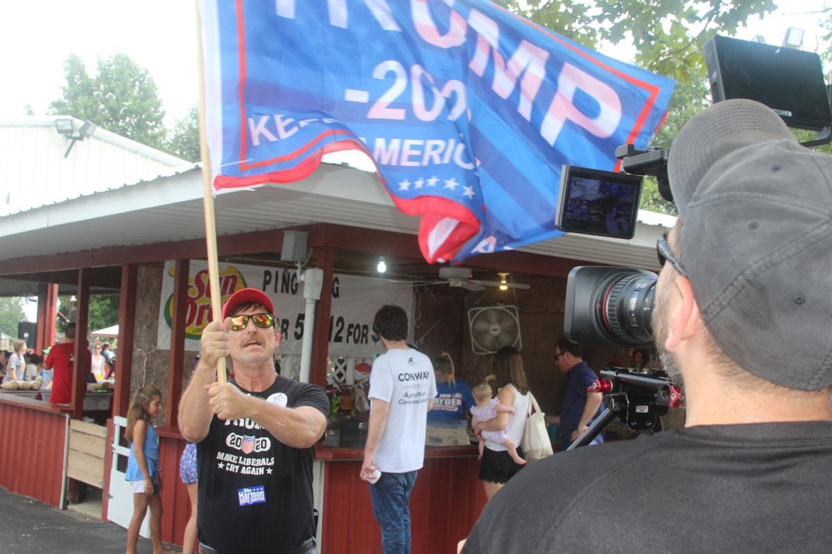 Waving Trump's flag