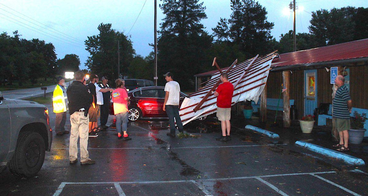 High winds down trees, damage homes, business