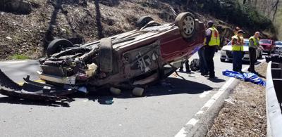 IMAGE: Car flips on 221 North, driver injured