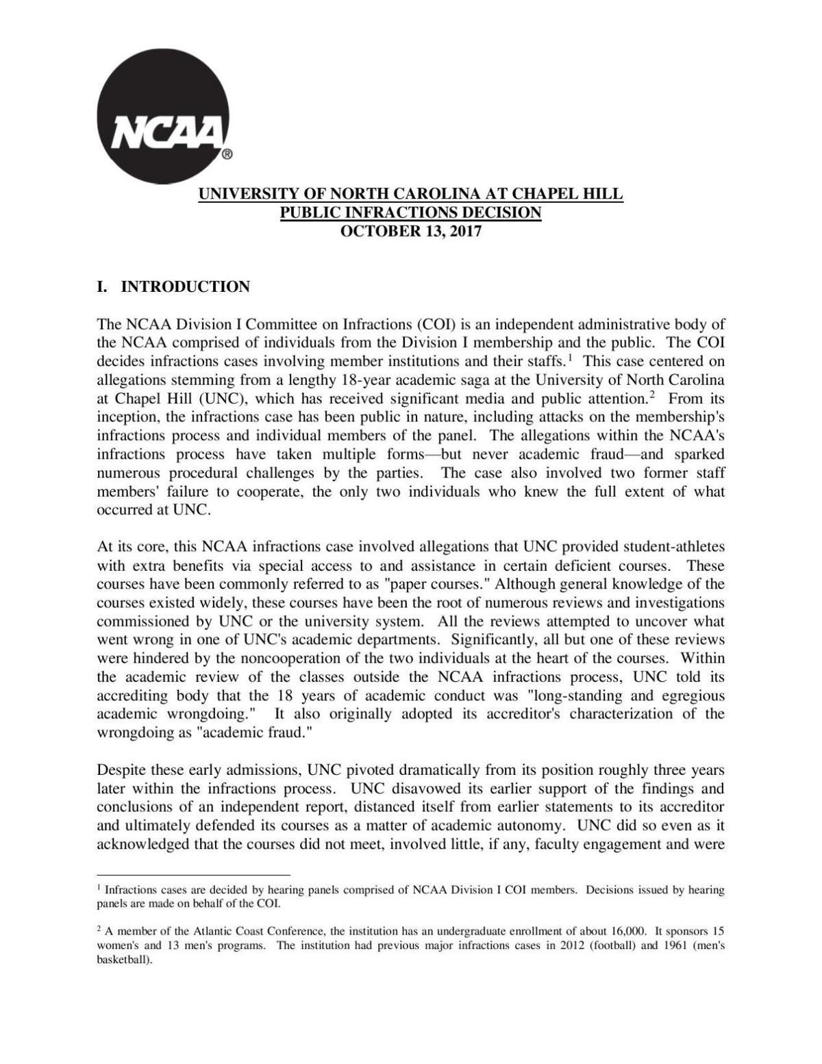 UNC ruling
