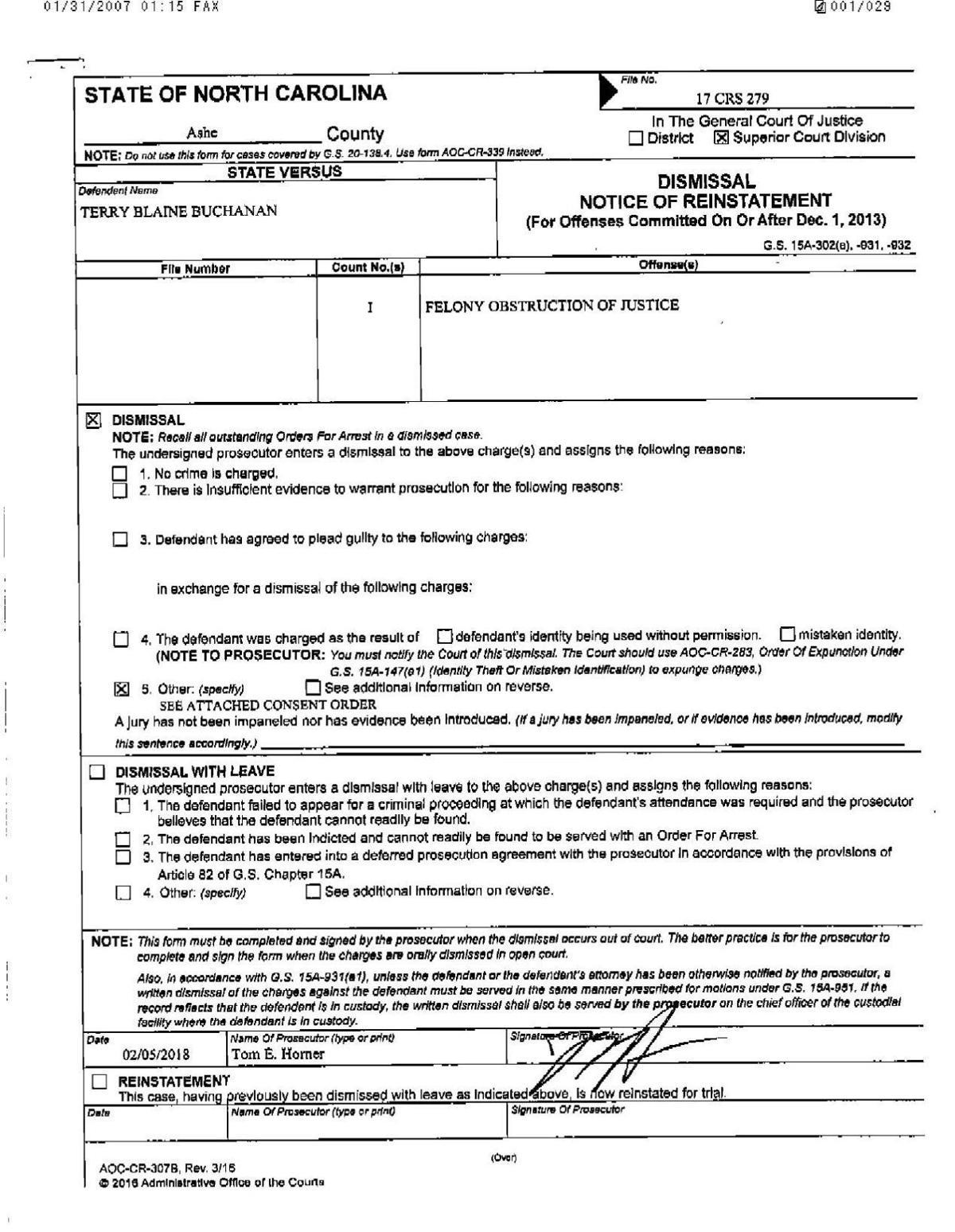 Court documents in Buchanan case