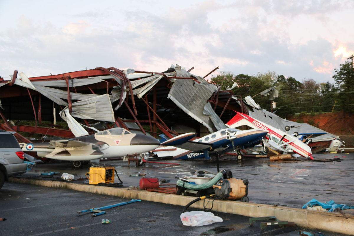 Winds toss planes and cars, damage hangar at Hickory Regional Airport
