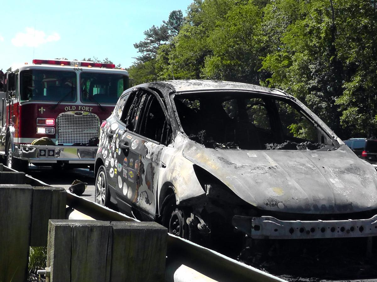 Car burns on I-40 in Marion