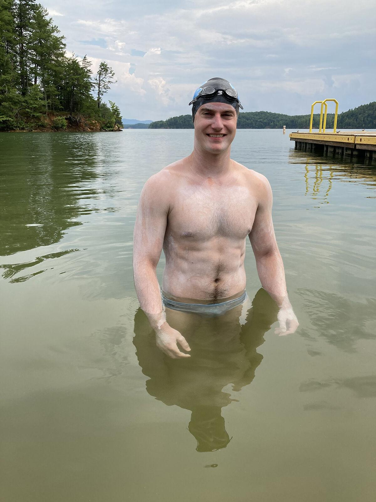 Young man swims the entire length of Lake James