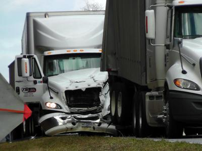 IMAGE: Collision between trucks stalls traffic on US 221