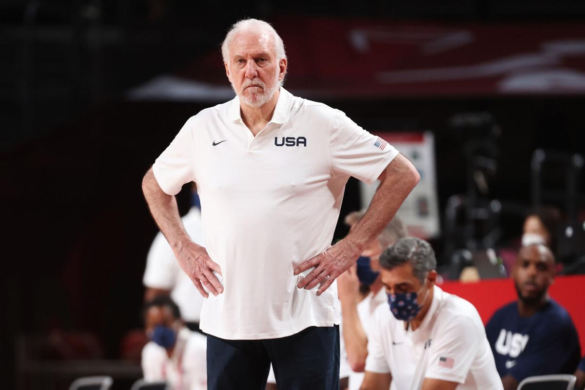 Gregg Popovich of Team United States looks on in disappointment during the first half against France in the Men's Preliminary Round Group B game on day two of the Tokyo 2020 Olympic Games at Saitama Super Arena on July 25, 2021 in Saitama, Japan.