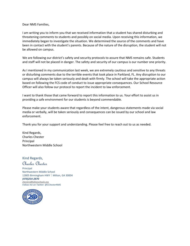 Principal Letter To Parents Neighbornewsonline Suburban