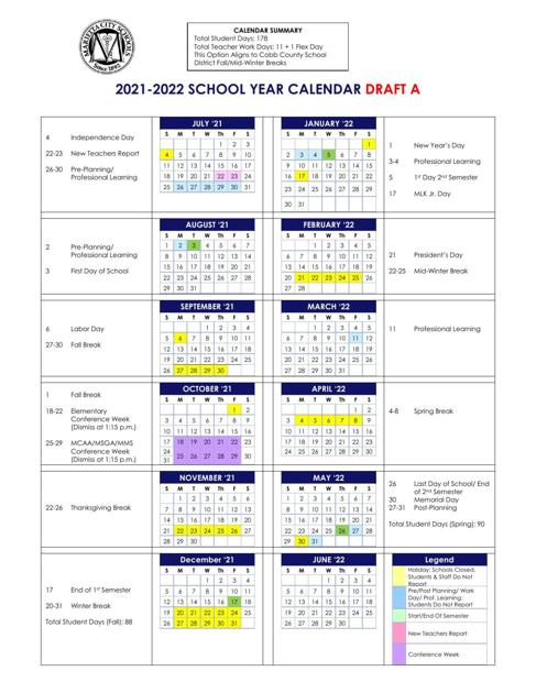 Cobb County Schools Calendar 2022.2021 22 Calendar Pdf Mdjonline Com