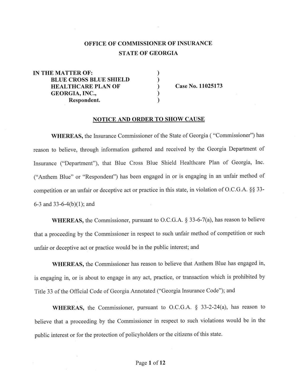 Insurance commissioner orders hearing on WellStar/Anthem dispute