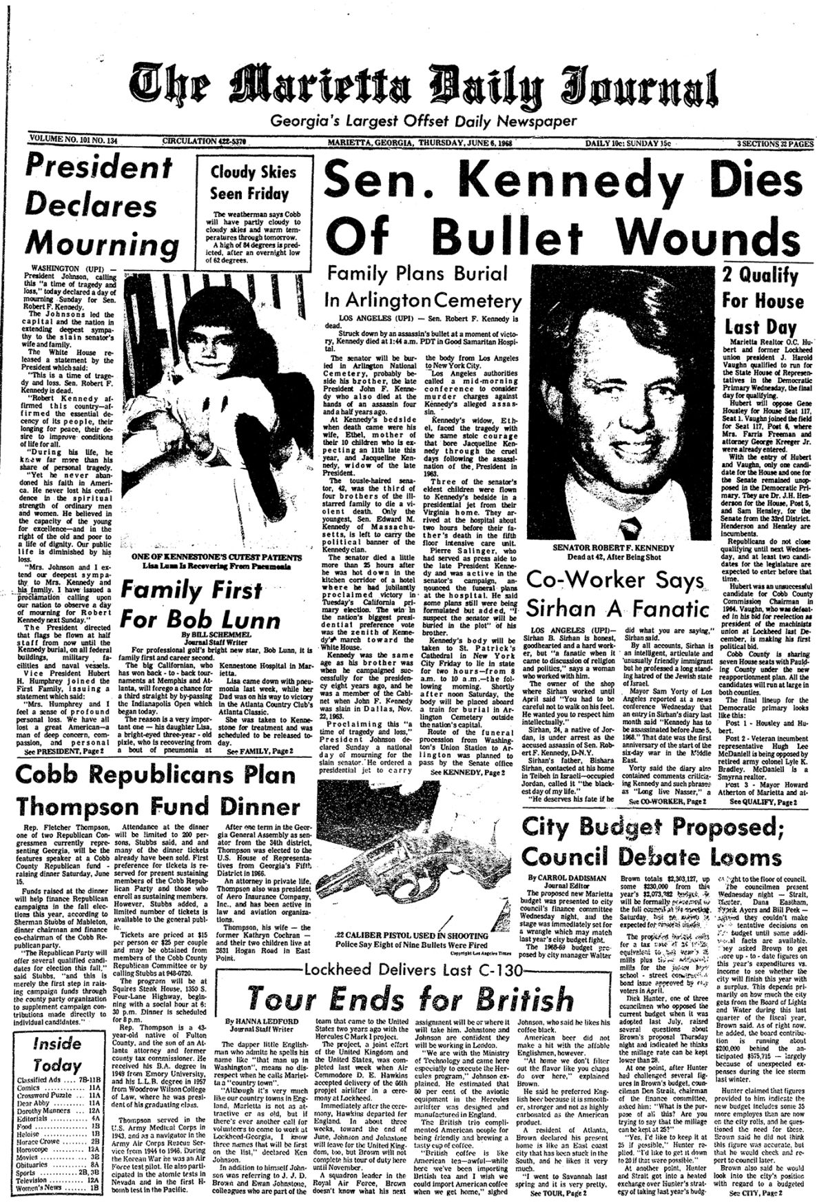 June 6, 1968 Page A1 Front - Time Capsule.jpg