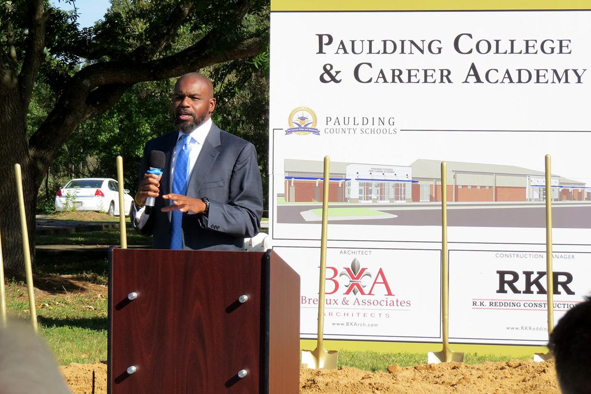 Paulding County School Board Chairman Nick Chester speaks at the recent  groundbreaking ceremony for the Paulding College and Career Academy.