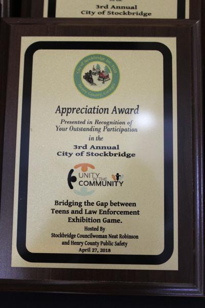 Unity in the Community appreciation plaque