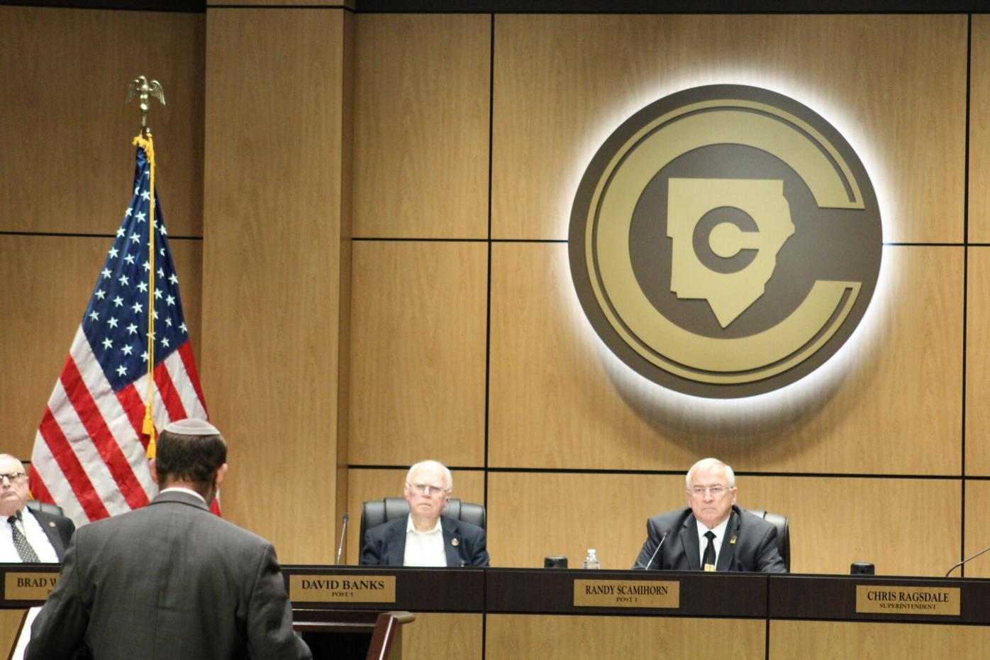 Rabbi at CCSD board meeting