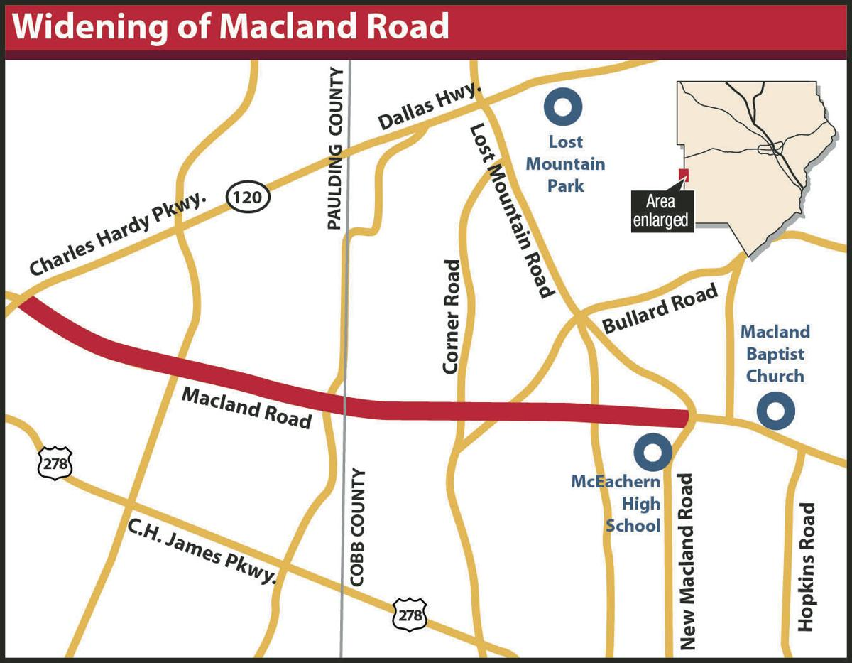 Widening of Macland road locator map