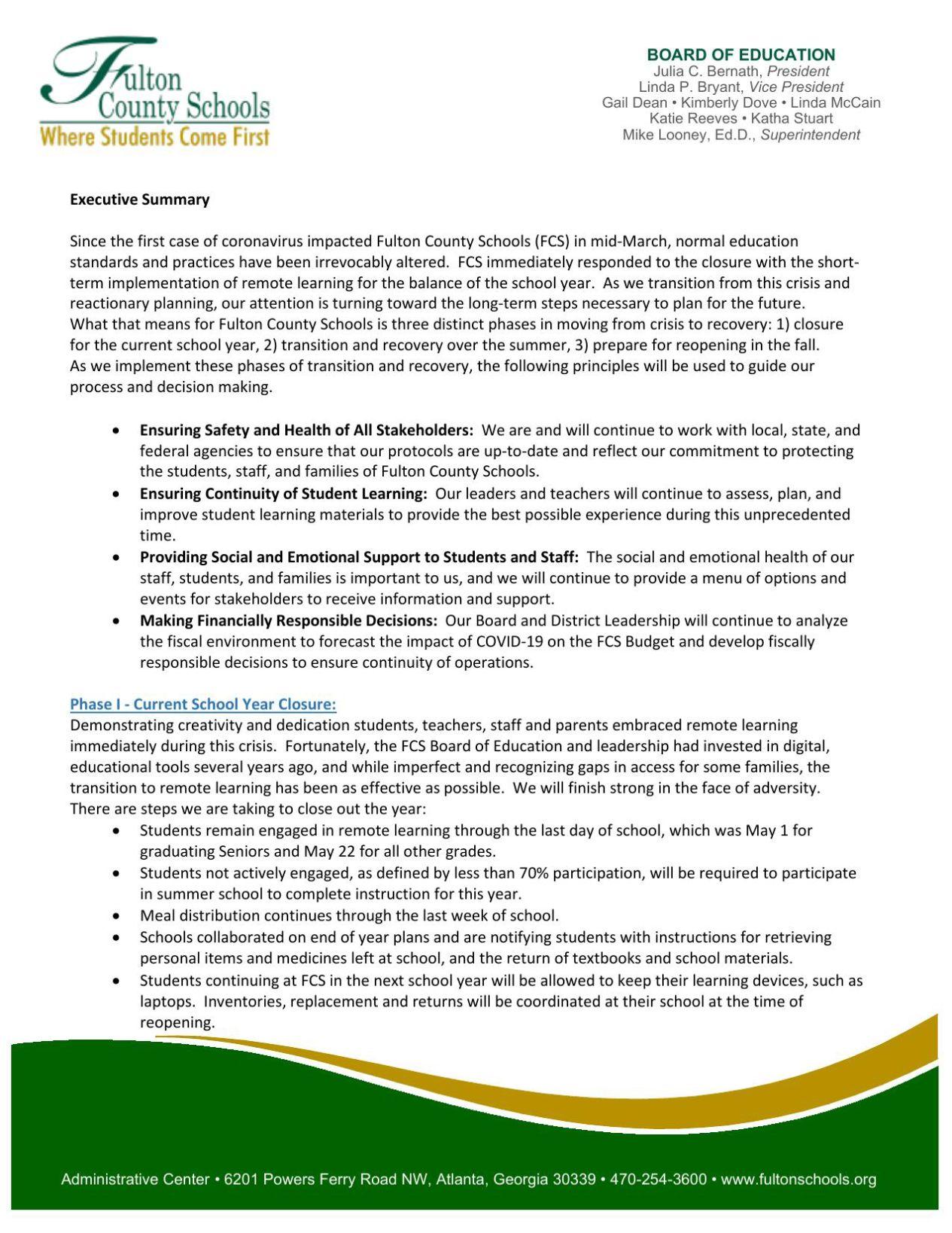 Fulton County Board of Education executive summary