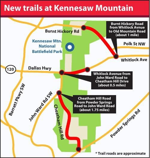 New Kennesaw Mountain Trail Map | | mdjonline.com on forsyth map, dalton map, sandy springs map, cedartown map, macon map, acworth map, montgomery map, elberton map, suwanee map, tullahoma map, cartersville map, austell map, roswell map, douglasville map, lithonia map, logansport map, hamilton mill map, lawrenceville map, alpharetta map, dunwoody map,