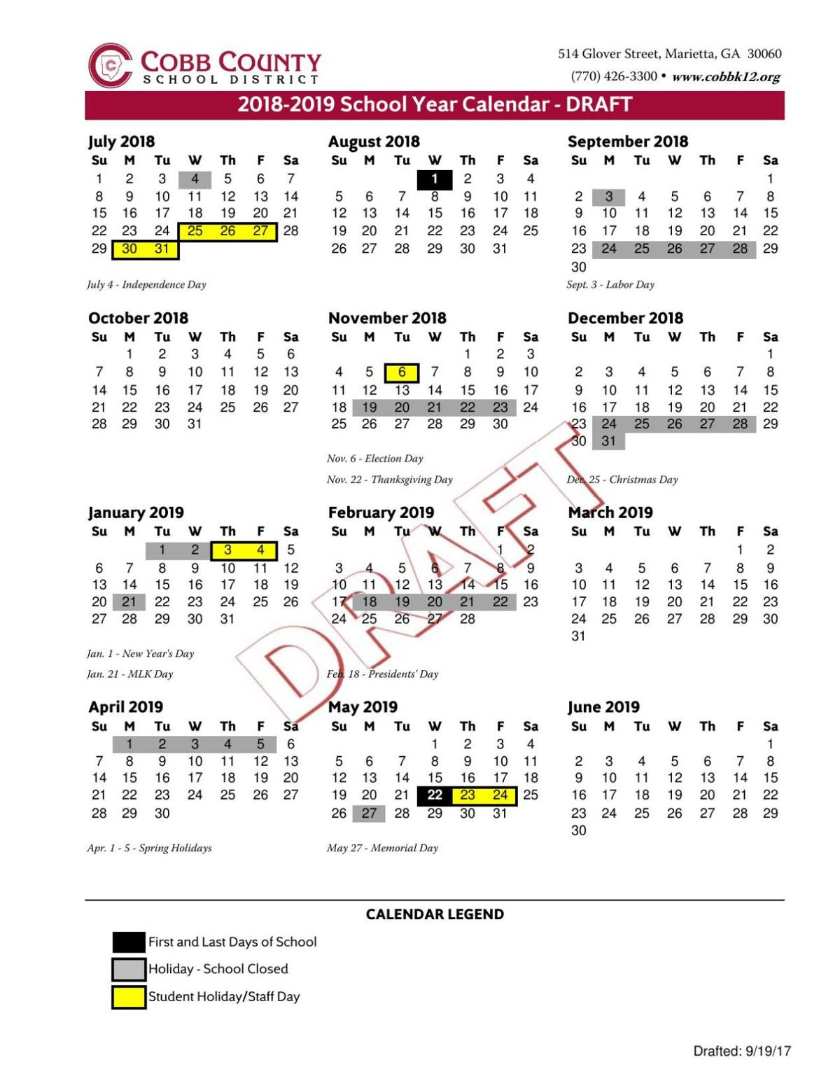download pdf cobb school calendar 2018 19pdf