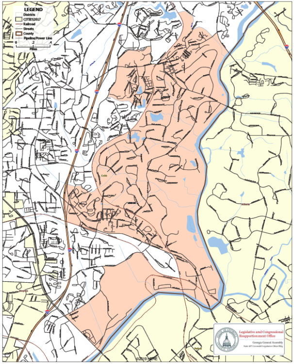 Map of the proposed city of Vinings