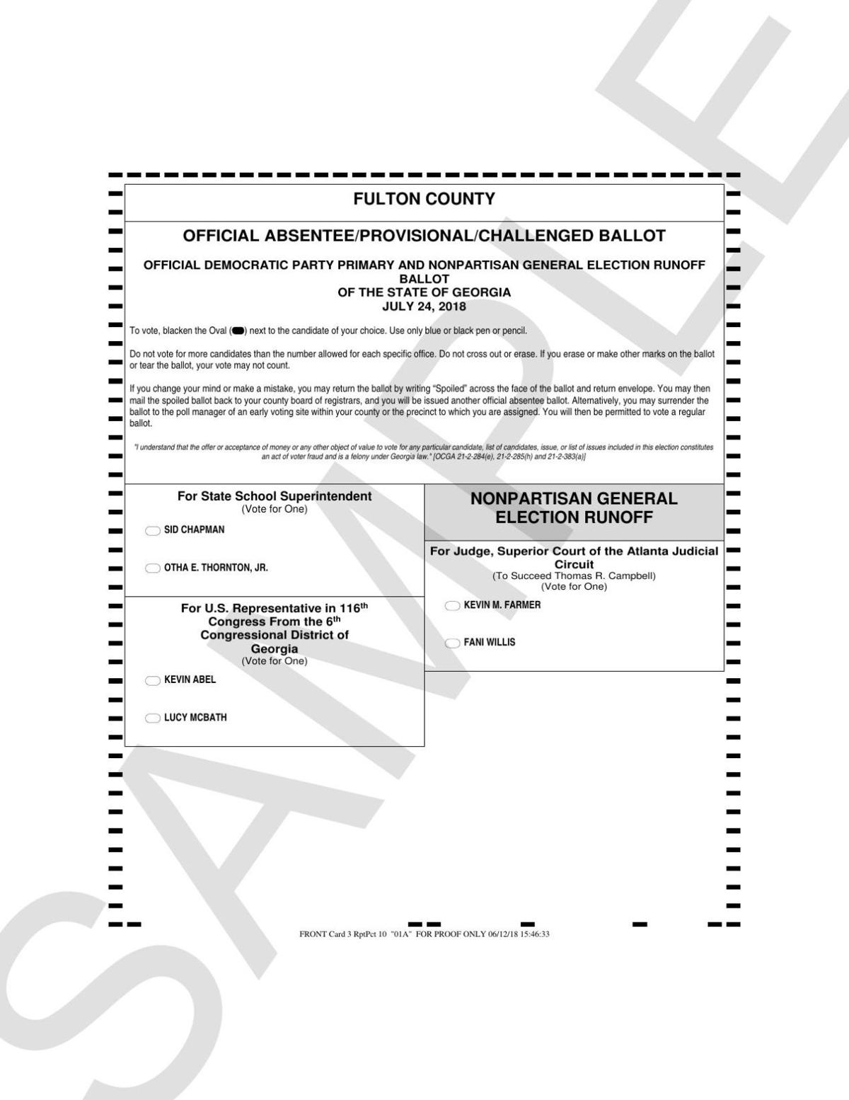 Fulton County runoff sample ballot Democrat