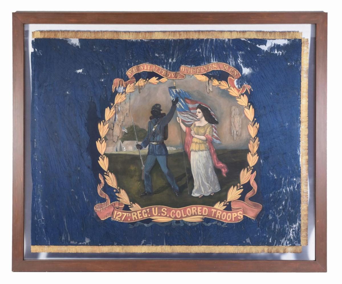 062619_MNS_AHC_flag_001 regimental flag of the 127th United States Colored Troops front
