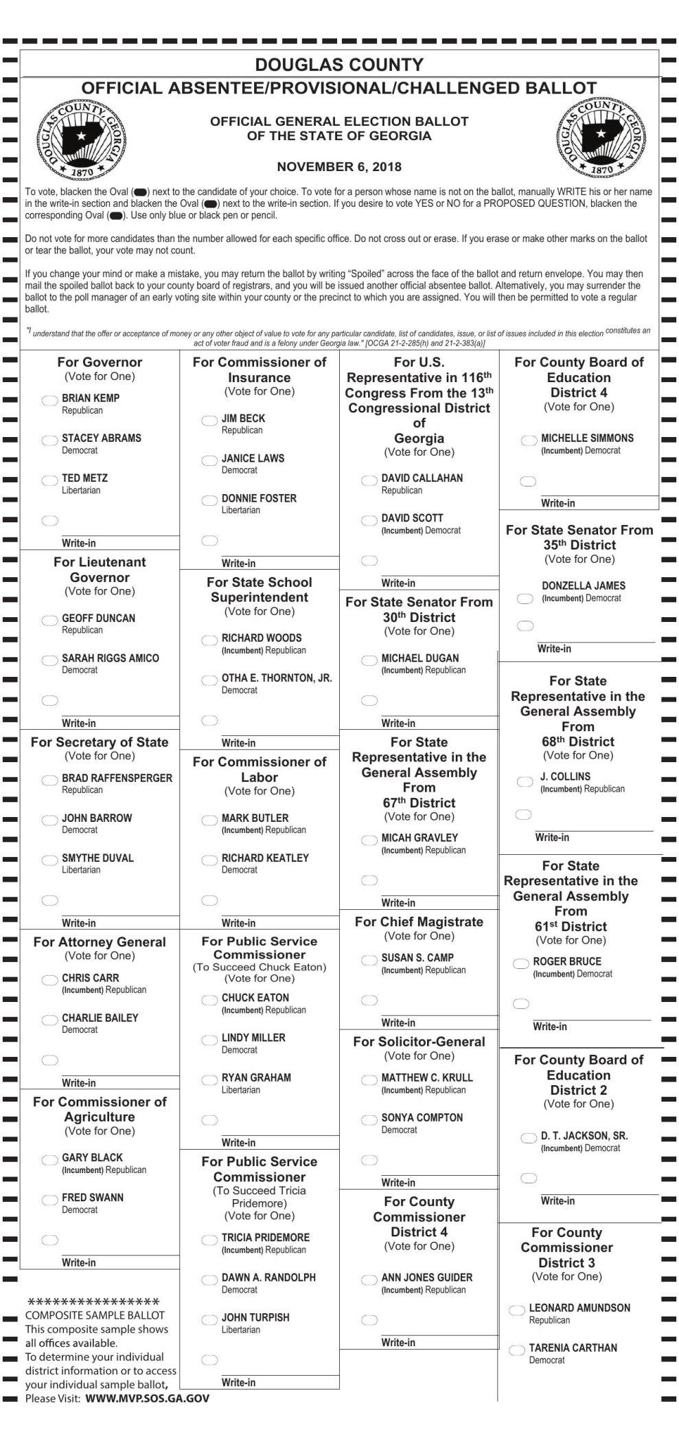 Douglas County 2018 November Election Sample Ballot