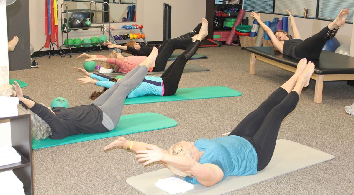 103019_MNS_pilates_class_004 Lauren Bober Lisa Delli-Carpini Mary Lynn Thach Gittel Price Karen Burpo Jody Wilson