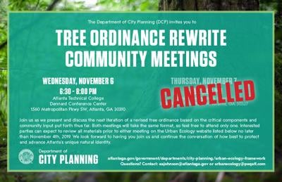 Tree ordinance meeting flyer