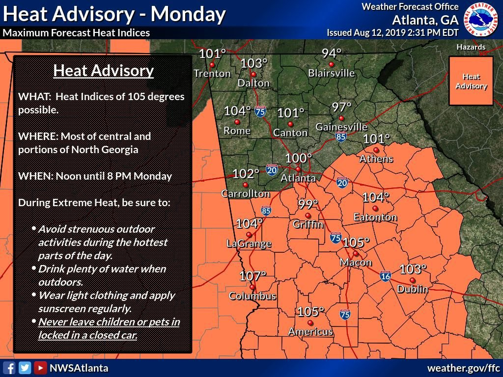 Heat Advisory Tues