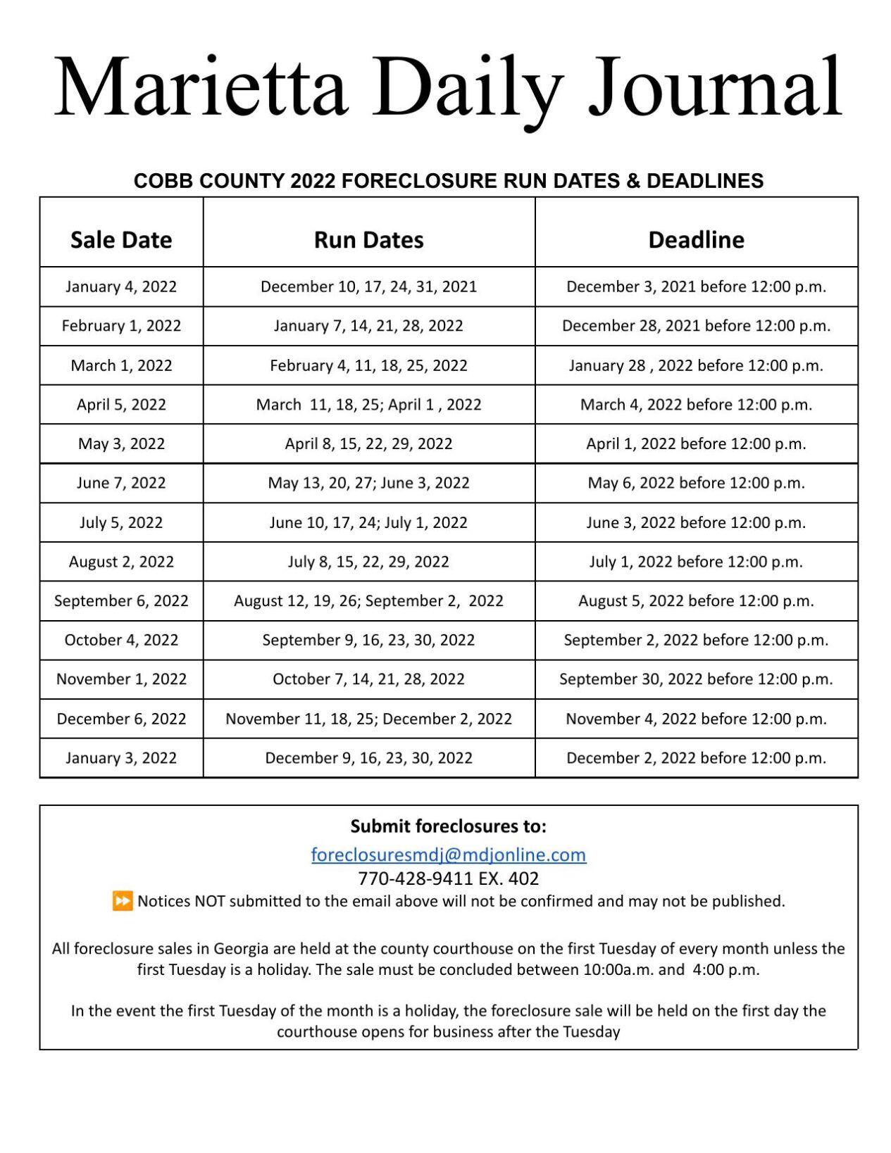 _Marietta 2022 Foreclosure Deadlines.pdf