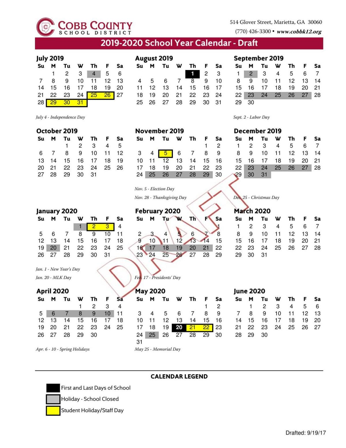 download pdf cobb school calendar 2019 20 2pdf