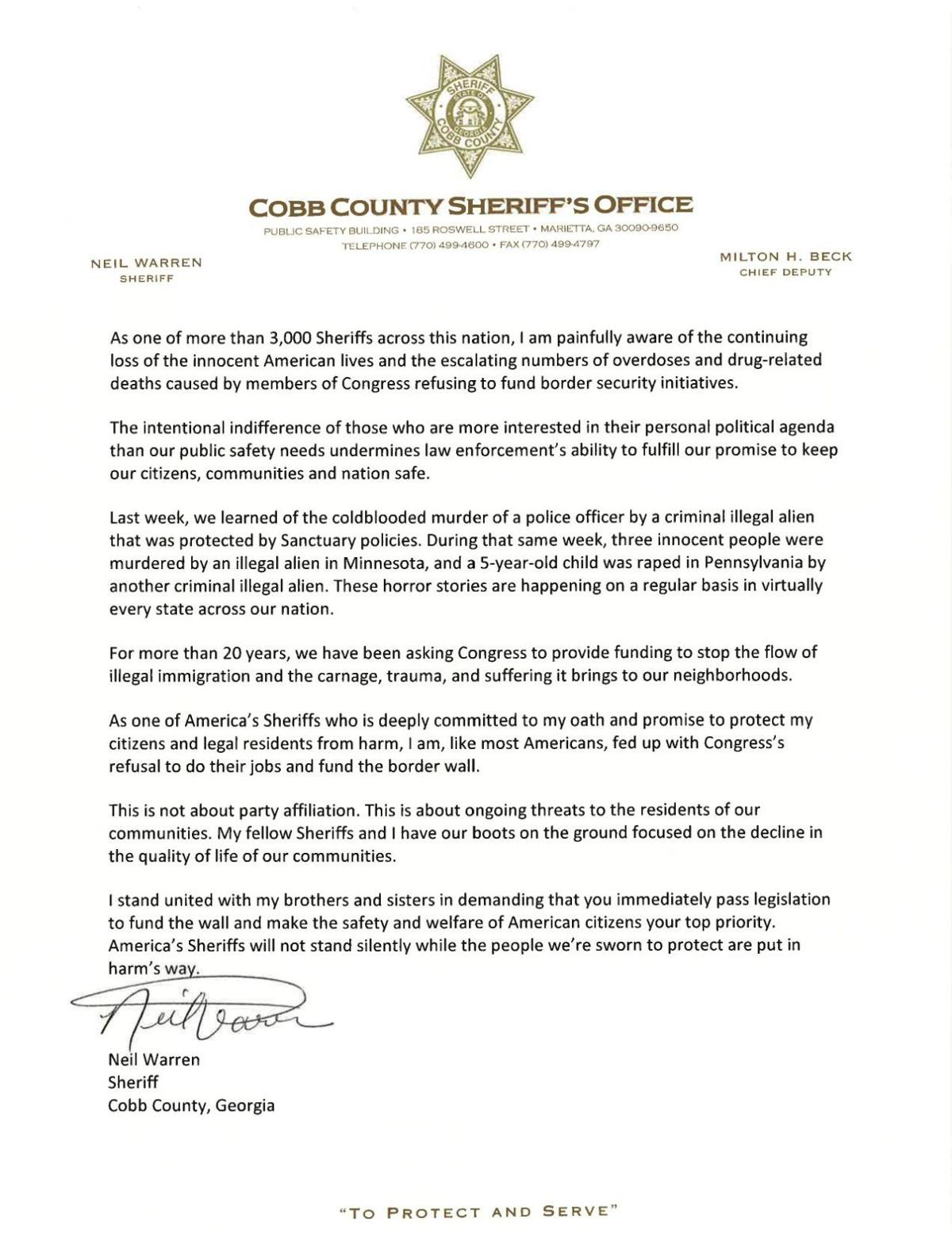Cobb sheriff pens letter in support of Trump's wall | News