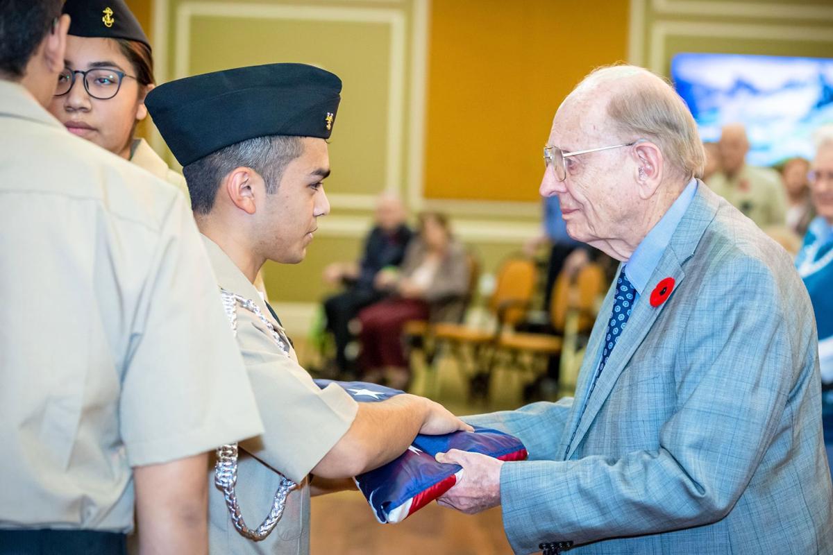 120419_MNS_full_Lenbrook_Veterans Manning Pattillo with Cross Keys JROTC students
