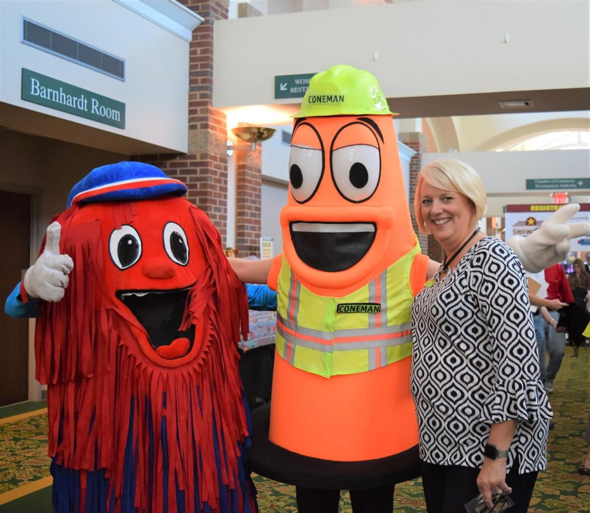 Catoosa Chamber CEO Amy Jackson with mascots