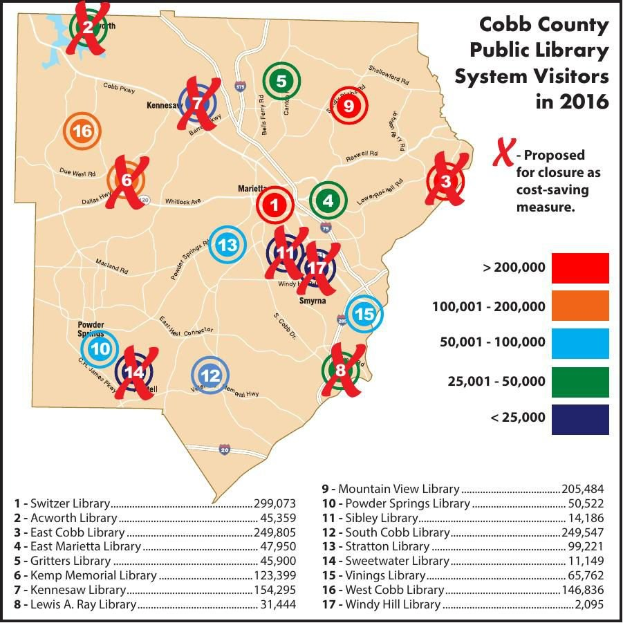Cobb County Library Map and Proposed Closures - Feb. 2018 ...