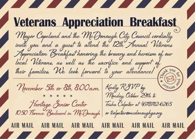 McDonough 2018 Veterans Day Invitation
