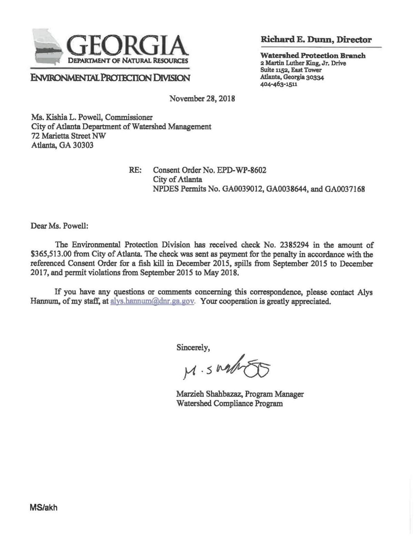 Letter regarding $365,513 fine