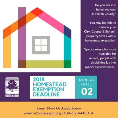 Fulton County 2018 homestead exemption graphic