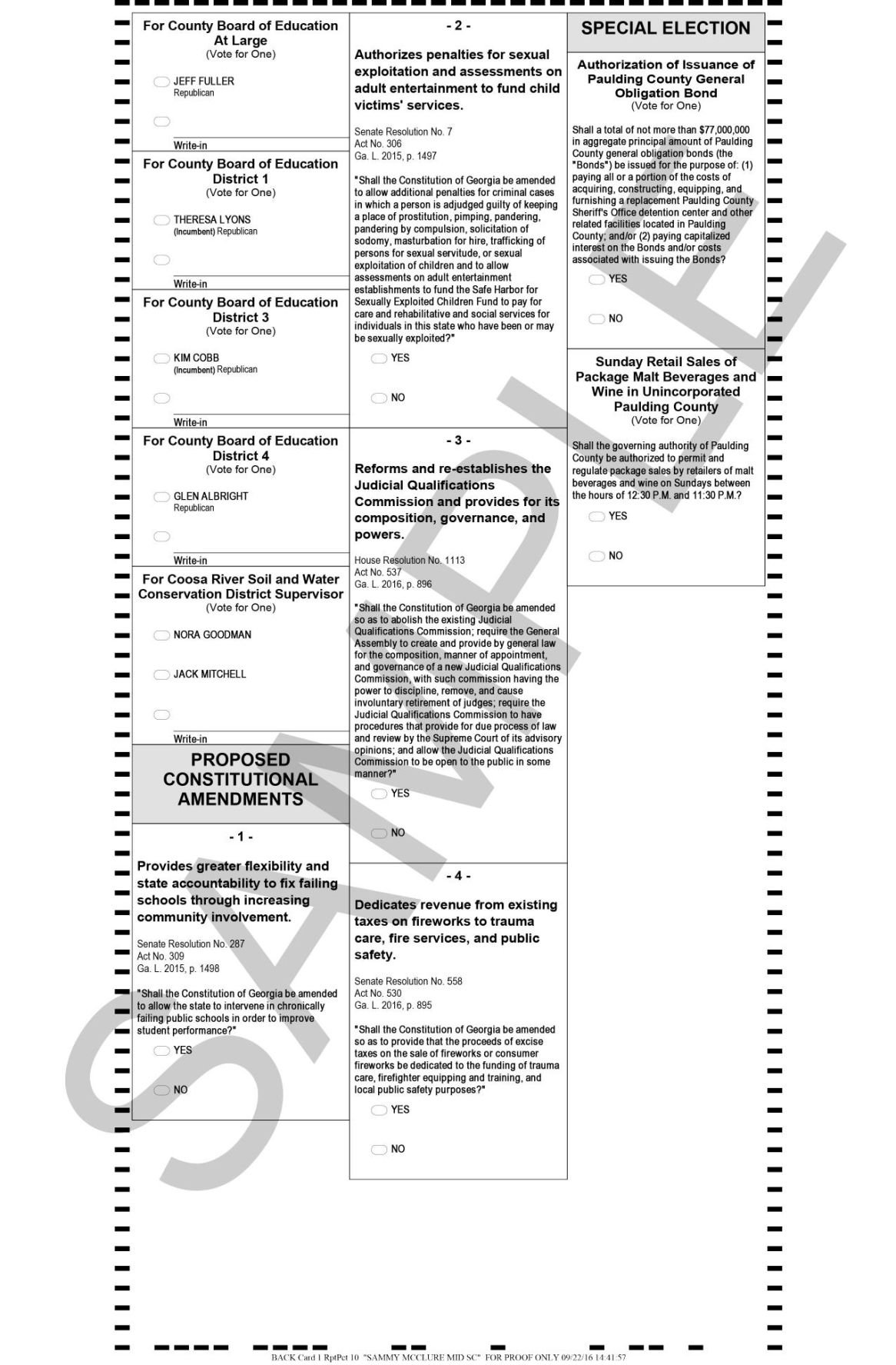 Paulding County Nov. 8 sample ballot part 2