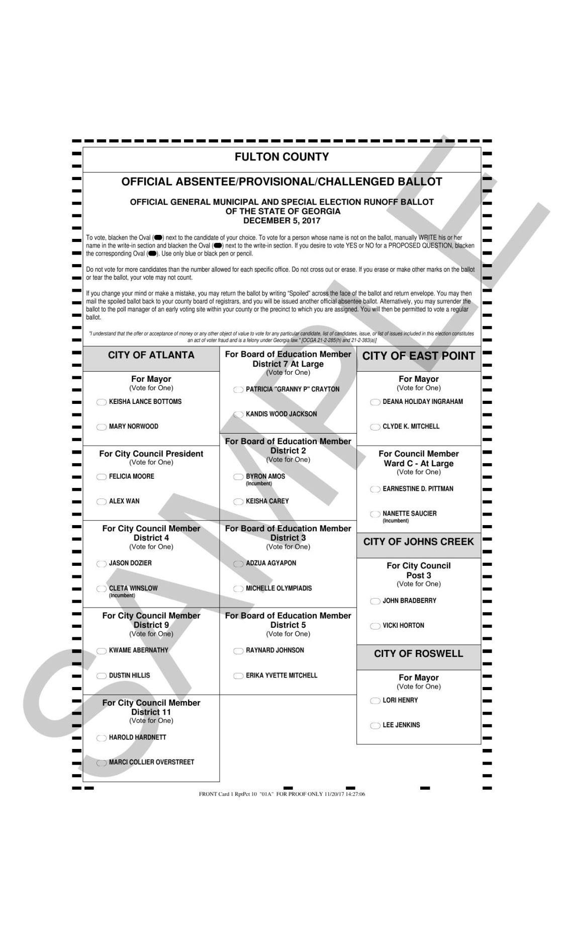 Fulton County runoff sample ballot | NeighborNewsOnline ...