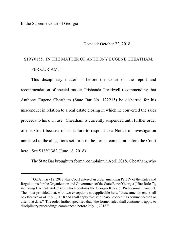 Supreme Court of Georgia Judgement
